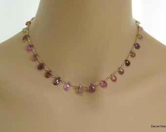 Pink Tourmaline Briolette Necklace in Gold