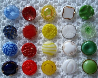 20 Glass Vintage Buttons Blue Red Yellow White Green Crafts Supplies Sewing  1950s
