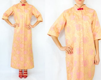 SALE...60s Vintage Gold and Pink  Asian Floral Brocade Kimono Sleeve Caftan Dress Robe House Dress / Long Maxi Length