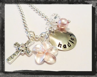 Flower Girl Necklace Hand Stamped Charm Necklace Personalized for your Flower Girl #W813