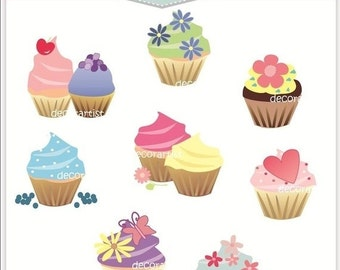 ON SALE Digital clip art, cupcake clip art, cupcake set, INSTANT Download