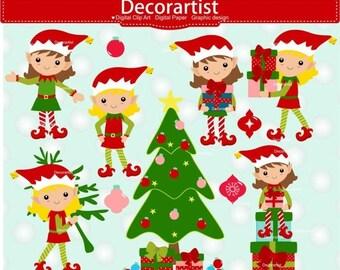 ON SALE Christmas elf clip art, Christmas clip art, elf girl clip art, elves clip art, Christmas elves clip art, instant download