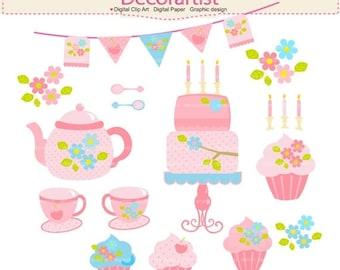 ON SALE tea party clipart, cake clipart, teapot clipart , Digital clipart, shabby chic tea party, INSTANT Download
