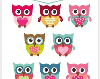 ON SALE Clip art owls, the owls, INSTANT Download