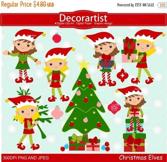 Items similar to ON SALE Christmas elf clip art, Christmas clip ...