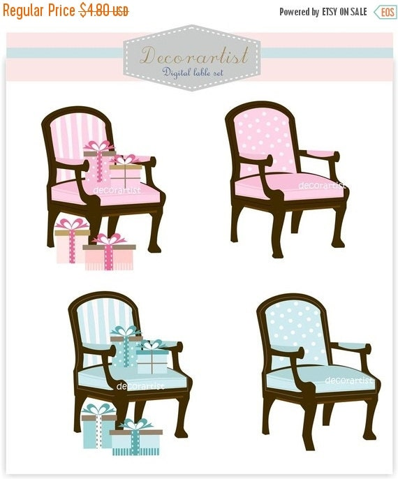 ON SALE chair clip art, armchair clip art, instant download Clip art armchair, furniture 2