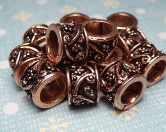 Copper Plated Large Hole Bali Bead 7x8mm - 4pc