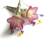 Lucite Trumpet Flower Earrings - Plum, yellow and purple - Silver Filigree Cone