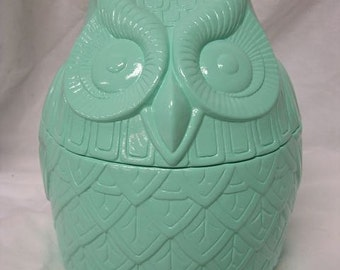 Birds Of a Feather Owl Cookie Jar Mint Green