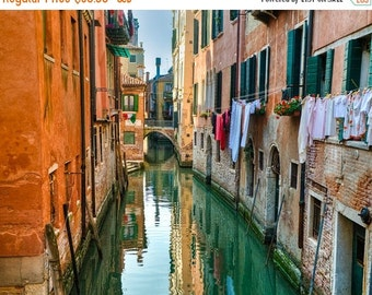 SALE - Ships Aug 27 - Venice Photography, Hanging Laundry Photo Italy Photograph Canal Orange Wall Art Home Decor Architecture ven44