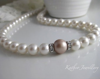 Caitlin - Taupe and White Pearl Bridal Necklace . Swarovski Powder Almond and White Pearl Strand necklace KathcoJewellery