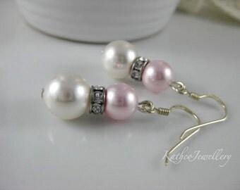 Caitlin - Classic Blush and White Bridesmaids Earrings. Swarovski Rosaline Pink Pearl Earrings. Bridesmaid Drop Earrings.KathcoJewellery