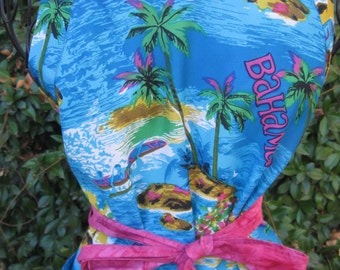 Hawaiian apron, handmade apron, repurposed fabric apron, Bahamas, pocket, full apron