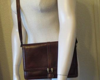 vintage Cordovan Wine Belting Leather Envelope bag with Cross Body or Shoulder Strap