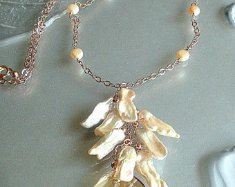 Biwa pearls rose gold chain necklace, Swarovski golden crystal pendant, hand wired freshwater pearls. .