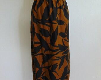 70s cotton MAXI skirt Hawaiian leaf print size large
