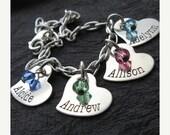 25% off sale - Personalized Bracelet - Engraved Jewelry - Engraved Bracelet - Tiny madison (4 hearts) personalized handstamped bracelet