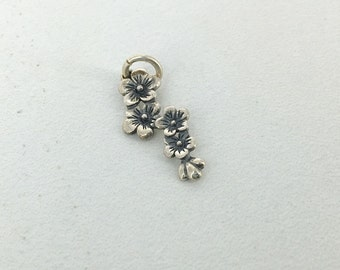 Sterling Silver Cherry Blossoms charm - ONE CHARM with jump ring - Charm - Add On