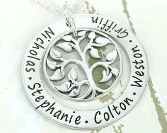 "Family Eternity Collection - 1 1/4"" personalized loop necklace with tree of life charm - Engraved Necklace - Mother Necklace - Mom Jewelry"