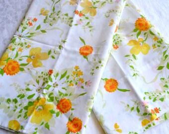 Vintage Pillowcases - Yellow Orange Summer Floral - Standard Size Pair