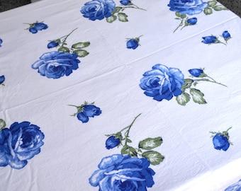 Vintage Tablecloth - Blue Roses - 52 x 64