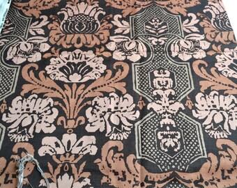 Vintage Fabric - Steve Laurent France - Jacobean Print Upholstery - 35 x 30