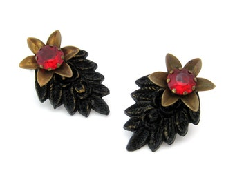 Vintage Molded Plastic Flower Dress Clips | Black Leaf Red Rhinestone Brooch | 1930s Costume Jewelry