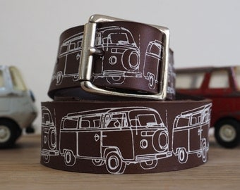 Campervan leather belt, leather belt men, leather belts for men, mens belt, campervan gift, camper van gifts, vw campervan, fathers day gift