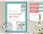 DIY Custom Wedding Invitation Suite - Romantic Antique Roses Design for Garden Wedding - Customized Printable PDF