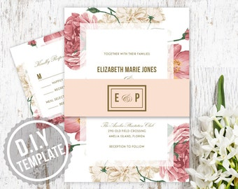 DIY Custom Vintage Blush Pink and Gold Floral Roses Wedding Invitation with Response RSVP Card for Garden Wedding - Customized Printable PDF