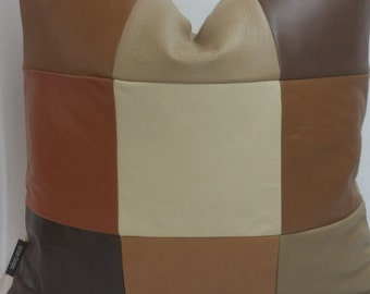 """RTS One of a kind, 18"""" x 18"""" custom made, Geniune leather pillow, earth tones, browns, beiges, patchwork 105"""