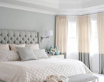 Pair of ivory and steel grey color-block linen curtain panels, colorblock drapes, window treatments,
