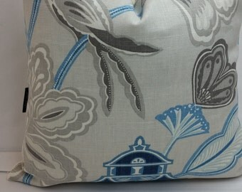 Braemore Emperors garden sapphire, decorative pillow cover, blue, grey, ivory