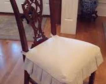 Slipcover for chair seat, seat cover, natural, white, cotton canvas, custom sizes made to order