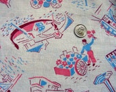 Vintage  Feedsack Cotton Flour Sack Novelty Fabric  - Flower Cart Vendor, Canals, Scenic View of Venice  - 36 x 44