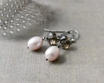 Oxidized Pearl Earrings, Silver Dangle Earrings, Gemstone Earrings, Real Pearl Earrings, June Birthstone Earrnings, Pink Pearl Earrings