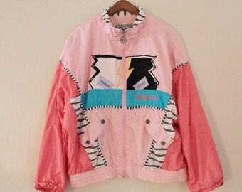 80's Pink Funky Windbreaker