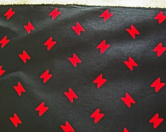 Vintage Silk - Black With Red Geometric Print - 4 5/8 Yards - Perfect For Sewing Dress, Blouse, Scarves