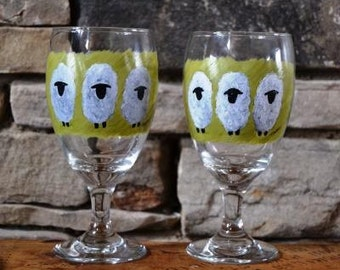 Sheep - Painted Beverage Glasses - Set of 2