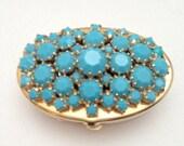 Beautiful Vintage Glass Claw Set Gem Pillbox Enamel Turquoise MINT Gold