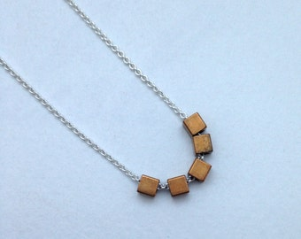Sterling Silver Cable Chain w/  Vintage Brass CUBE Beads MODERN