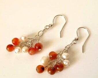 ON SALE Silver wire wrapped dangle carnelian & pearl dangle earrings, carnelian dangle earrings, pearl dangle earrings