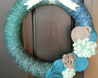 Blue and Teal Multi-Colored Yarn Wreath
