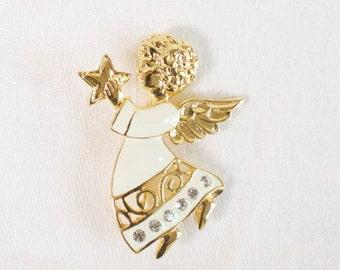 Vintage Christmas Angel Pin Brooch Christmas Cherub with Rhinestones  SFJ