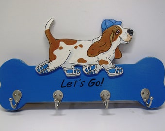 "Hand Painted Basset Hound Leash/Accessory Holder - ""Sneakers"" Red/White Basset with Blue"