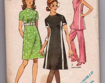 Vintage 1970 Simplicity Dress pattern 9206, Ladies Dress size 16