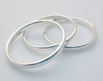 Sterling Silver 2mm Ring Finger Band Three sizes