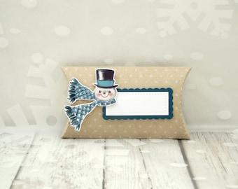 Snowman Gift Card Holder, Vintage Snowman Gift Card Holder, Kraft Pillow Box, Winter Treat Holder, Small Gift Box, Winter Gift Card