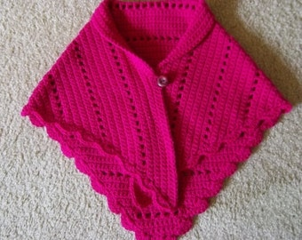Shawl - Crochet Triangle Shawl - Cape for a Girl in Hot Pink