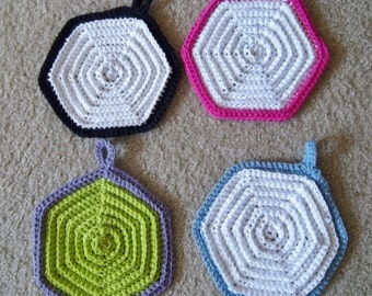 Potholder - Crochet Potholder - Hexagon Potholders - Choose Your Favorite Color